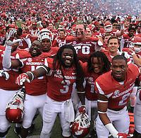 Arkansas Democrat-Gazette/BENJAMIN KRAIN --10/24/2015--<br /> The Razorbacks celebrate a 4OT victory over Auburn in Fayetteville.