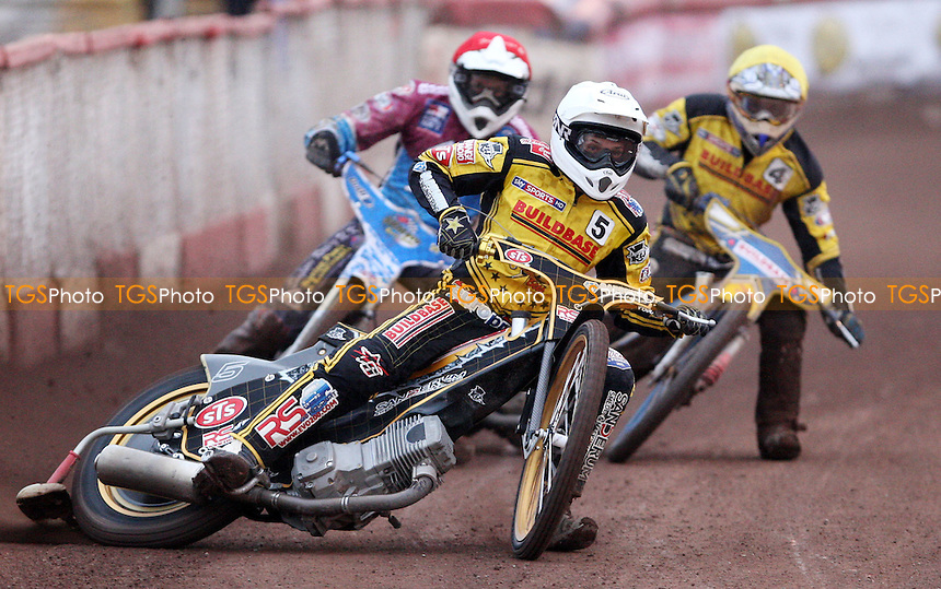 Heat 4: Kenni Larsen (white), Kauko Nieminen (red) and Aaron Summers (yellow) - Lakeside Hammers vs Coventry Bees, KO Cup 1st Round 2nd leg at the Arena Essex Raceway, Pufleet - 02/06/12 - MANDATORY CREDIT: Rob Newell/TGSPHOTO - Self billing applies where appropriate - 0845 094 6026 - contact@tgsphoto.co.uk - NO UNPAID USE..