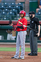 AZL Angels third baseman Julio Garcia (3) bats during a game against the AZL Giants on July 10, 2017 at Scottsdale Stadium in Scottsdale, Arizona. AZL Giants defeated the AZL Angels 3-2. (Zachary Lucy/Four Seam Images)