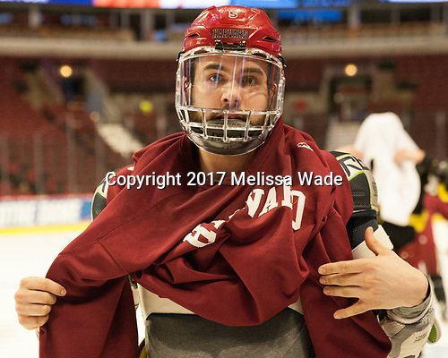 Clay Anderson (Harvard - 5) - The Harvard University Crimson practiced at the United Center on Wednesday, April 5, 2017, in Chicago, Illinois.