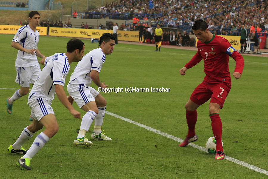 Portugal football superstar Christiano Ronaldo at the World Cup 2014 qualification game with Israel