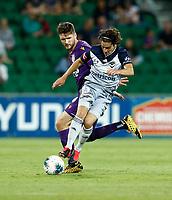 1st February 2020; HBF Park, Perth, Western Australia, Australia; A League Football, Perth Glory versus Melbourne Victory; Marco Rojas of Melbourne Victory controls the ball in front of Alexander Grant of the Perth Glory