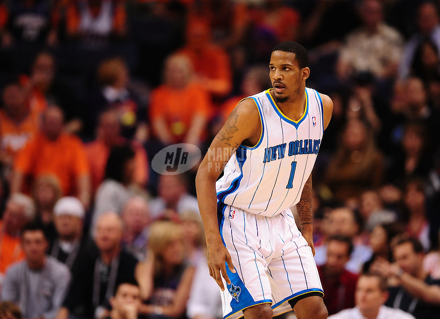 Mar. 25, 2011; Phoenix, AZ, USA; New Orleans Hornets forward (1) Trevor Ariza against the Phoenix Suns at the US Airways Center. The Hornets defeated the Suns 106-100. Mandatory Credit: Mark J. Rebilas-