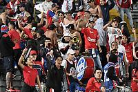 BOGOTÁ -COLOMBIA, 02-04-2017. Hinchas del Medellin animan a su equipo durante el encuentro entre Independiente Santa Fe e Independiente Medellín por la fecha 11 de la Liga Aguila I 2017 jugado en el estadio Nemesio Camacho El Campin de la ciudad de Bogota. / Fans of Medellin cheer for their team during match between Independiente Santa Fe and Independiente Medellin for the date 11 of the Aguila League I 2017 played at the Nemesio Camacho El Campin Stadium in Bogota city. Photo: VizzorImage/ Gabriel Aponte / Staff