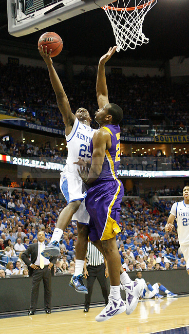 UK point guard Marquis Teague drives to the basket for a layup during the first half in the 2012 SEC Tournament game between Kentucky and LSU, played at the New Orleans Arena, on 3/9/12.  Photo by Quianna Lige | Staff