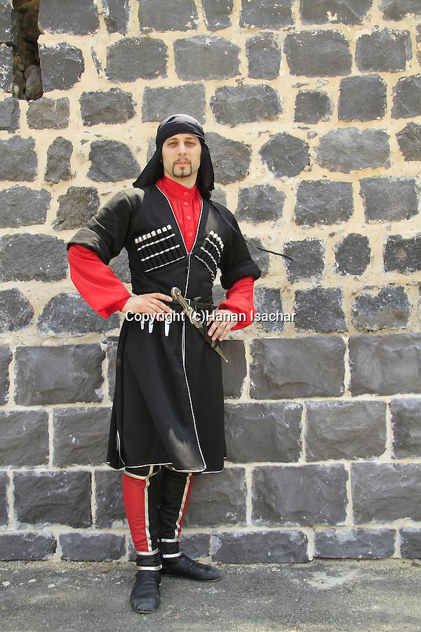 Israel, Lower Galilee, Circassian man in traditional clothing at Kfar Kama