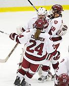 Laura Bellamy (Harvard - 1), Leanna Coskren (Harvard - 24), Cori Bassett (Harvard - 18) - The Harvard University Crimson defeated the Northeastern University Huskies 1-0 to win the 2010 Beanpot on Tuesday, February 9, 2010, at the Bright Hockey Center in Cambridge, Massachusetts.