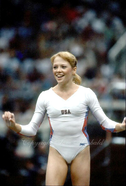 October 23, 1983; Budapest, Hungary; Artistic gymnast Julianne McNamara of USA celebrates after finish to floor exercise at 1983 World Championships in Budapest. Copyright 1983 Tom Theobald