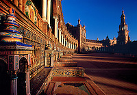 Plaza de Espana showing tile facade details Seville Spain.
