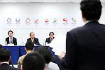 (L-R) Takeshi Natsuno, Toshiro Muto, Ryohei Miyata, April 8, 2016 : <br /> The Tokyo 2020 Emblems Selection Committee unveiled Shortlisted Emblem designs in Tokyo, Japan. (Photo by Yohei Osada/AFLO SPORT)
