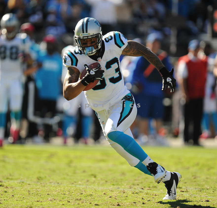 Carolina Panthers Louis Murphy (83) in action during a game against the Cowboys on October 21, 2012 at Bank of America Stadium in Charlotte, NC. The Cowboys beat the Panthers 19-14.