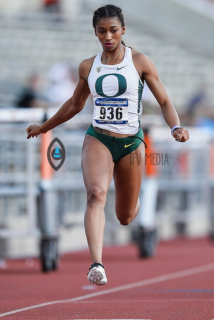 Jasmine Todd of Oregon competes in 100 meter prelims during West Preliminary Track and Field Championships, Friday, May 29, 2015 in Austin, Tex. (Mo Khursheed/TFV Media via AP Images)