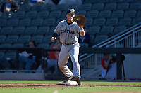 Coastal Carolina Chanticleers first baseman Zack Beach (16) waits for a throw during the game against the Duke Blue Devils at Segra Stadium on November 2, 2019 in Fayetteville, North Carolina. (Brian Westerholt/Four Seam Images)