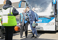 A Photographer stops Dayle Southwell of Wycombe Wanderers for a photo as he arrives for the Sky Bet League 2 match between Grimsby Town and Wycombe Wanderers at Blundell Park, Cleethorpes, England on 4 March 2017. Photo by Andy Rowland / PRiME Media Images.