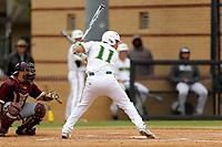 San Jacinto Gators infielder Mario Moralez (11) in action against the Bossier Parish Community College Cavaliers at Harrison Field on February 2, 2018 in Houston, TX. (Erik Williams/Four Seam Images)