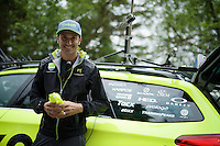 former rider Ivan Basso (ITA/Tinkoff) waiting for the Tinkoff riders to check the times &amp; hand out bidons up the Mont&eacute;e de Bisanne (HC/1723m/12.4km/8.2%)<br /> <br /> Stage 19:  Albertville &rsaquo; Saint-Gervais /Mont Blanc (146km)<br /> 103rd Tour de France 2016
