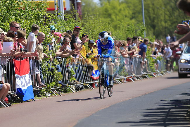 Alexander Foliforov (RUS) Gazprom-Rusvelo in action during Stage 1 of the 2016 Giro d'Italia, an individual time trial of 9.8km around Apeldoorn, The Nethrerlands. 6th May 2016.<br /> Picture: Eoin Clarke | Newsfile<br /> <br /> <br /> All photos usage must carry mandatory copyright credit (&copy; Newsfile | Eoin Clarke)