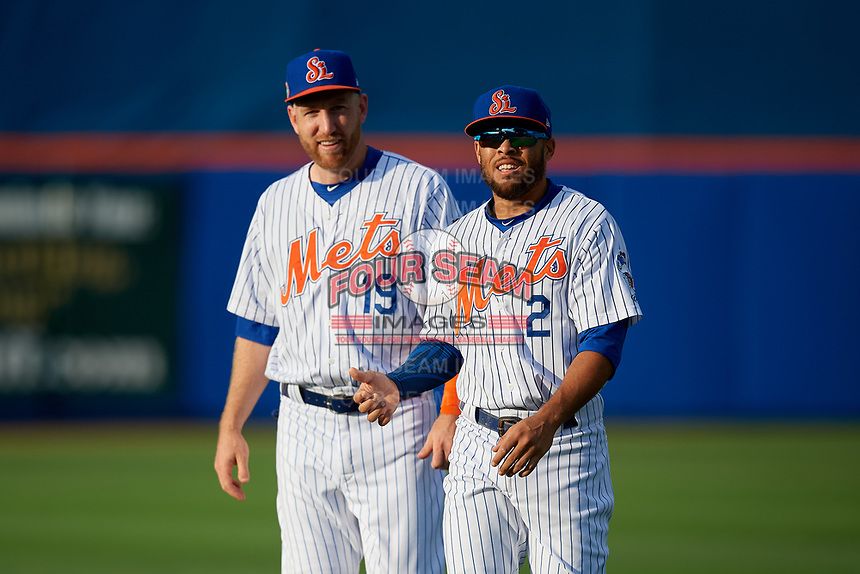 St. Lucie Mets Todd Frazier (19), on rehab assignment, and Desmond Lindsay (2) during warmups before a Florida State League game against the Florida Fire Frogs on April 12, 2019 at First Data Field in St. Lucie, Florida.  Florida defeated St. Lucie 10-7.  (Mike Janes/Four Seam Images)