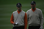 Soren Hansen and Peter Hanson check their yardage on the 9th hole during the 3rd round Foursomes of the Seve Trophy at The Heritage Golf Resort, Killenard,Co.Laois, Ireland 29th September 2007 (Photo by Eoin Clarke/GOLFFILE)