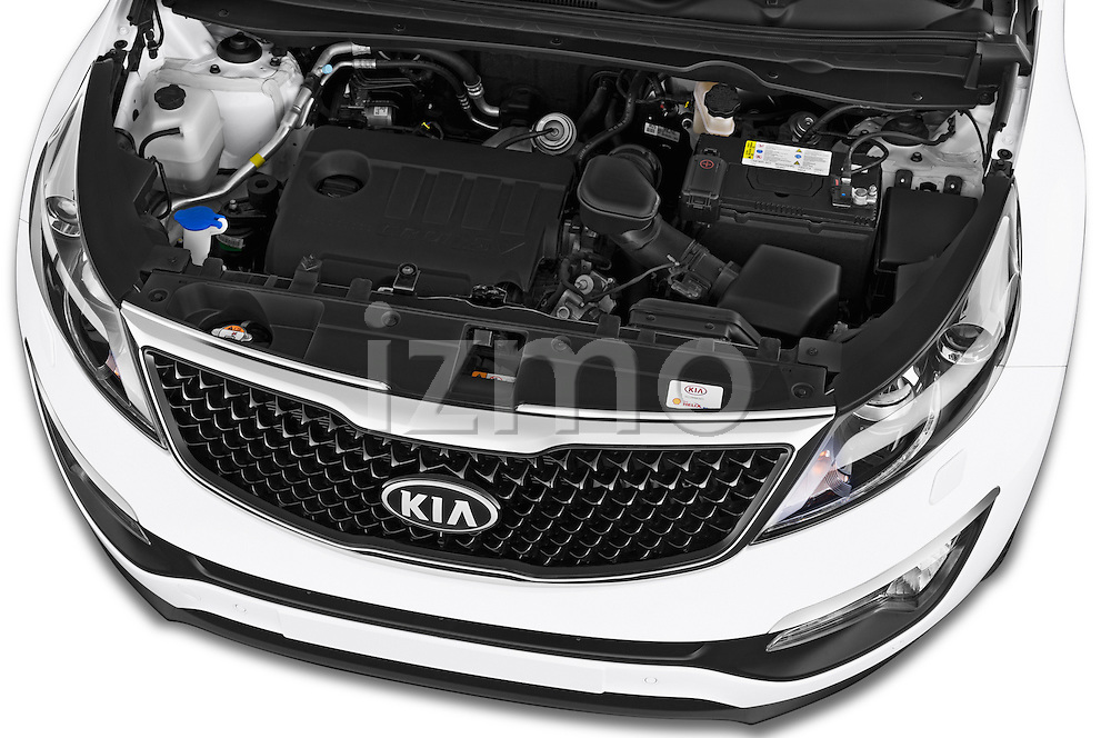 Car Stock 2014 KIA SPORTAGE Sense 5 Door SUV 2WD Engine high angle detail view