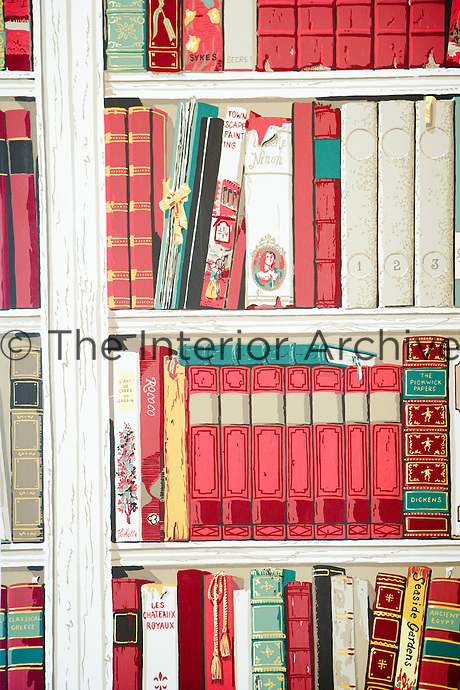 Close-up of book shelf print wallpaper