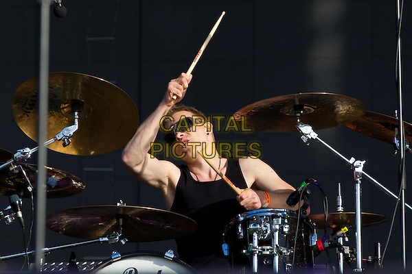 "The Rasmus.""MAXIDROM 2012"" Festival, Airfield ""Tushino"", Moscow, Russia..June 10th, 2012.on stage in concert live gig performance music half length black top drums sunglasses shades .CAP/PER/SB.©SB/PersonaStars/CapitalPictures"