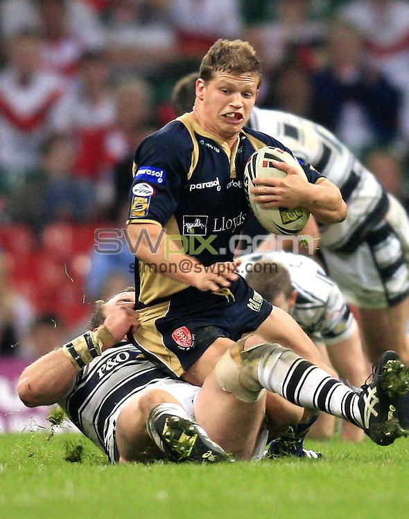 Pix: Chris Mangnall /SWpix.com, Rugby League Super League. Millennium Magic Cardiff. 04/05/08 Hull FC v Hull KR....picture copyright>>simon wilkinson>>07811267 706>>....Hull FC's Ewan Dowes tackles Hull KR's Peter Fox