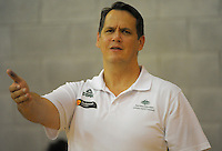 Australia coach Mark Wrobel makes a point during the 2013 FIBA Oceania Pacific Championship women's semifinal match between Australia and Tahiti at Te Rauparaha Arena, Porirua, Wellington, New Zealand on Tuesday, 3 December 2013. Photo: Dave Lintott / lintottphoto.co.nz