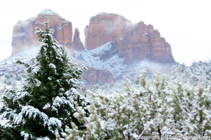 Sedona, Arizona's Cathedral Rock in the snow.