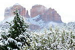 Sedona, Arizona's Cathedral Rock in the snow.