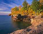 Big Bay State Park, WI: Lake Superior and sandstone cliffs of Big Bay Point in morning light, Madeline Island, Apostle Islands, Ashland County