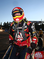 Nov 13, 2016; Pomona, CA, USA; NHRA top fuel driver Doug Kalitta after winning the Auto Club Finals at Auto Club Raceway at Pomona. Mandatory Credit: Mark J. Rebilas-USA TODAY Sports