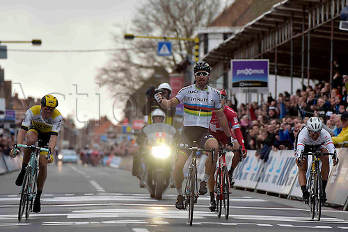 27.03.2016. Deinze, Belgium.  SAGAN Peter (SVK) Rider of TINKOFF wins before VANMARCKE Sep (BEL) Rider of TEAM LOTTO NL - JUMBO, KUZNETSOV Viacheslav (RUS) Rider of TEAM KATUSHA and CANCELLARA Fabian (SUI) Rider of TREK - SEGAFREDO during the Flanders Classics UCI World Tour 78nd Gent-Wevelgem cycling race with start in Deinze and finish in Wevelgem