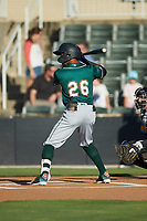 Lolo Sanchez (26) of the Greensboro Grasshoppers at bat against the Rapidos de Kannapolis at Kannapolis Intimidators Stadium on June 14, 2019 in Kannapolis, North Carolina. The Grasshoppers defeated the Rapidos de Kannapolis 4-1. (Brian Westerholt/Four Seam Images)