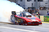 Apr 11, 2015; Las Vegas, NV, USA; NHRA funny car driver Gary Densham during qualifying for the Summitracing.com Nationals at The Strip at Las Vegas Motor Speedway. Mandatory Credit: Mark J. Rebilas-