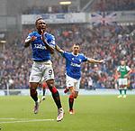 11.08.2019 Rangers v Hibs: Jermain Defoe celebrates his second goal