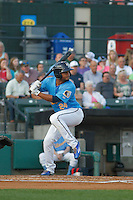 Myrtle Beach Pelicans designated hitter Charcer Burks (24) at bat during a game against the Salem Red Sox at Ticketreturn.com Field at Pelicans Ballpark on April 10, 2016 in Myrtle Beach, South Carolina. Salem defeated Myrtle Beach 4-3. (Robert Gurganus/Four Seam Images)