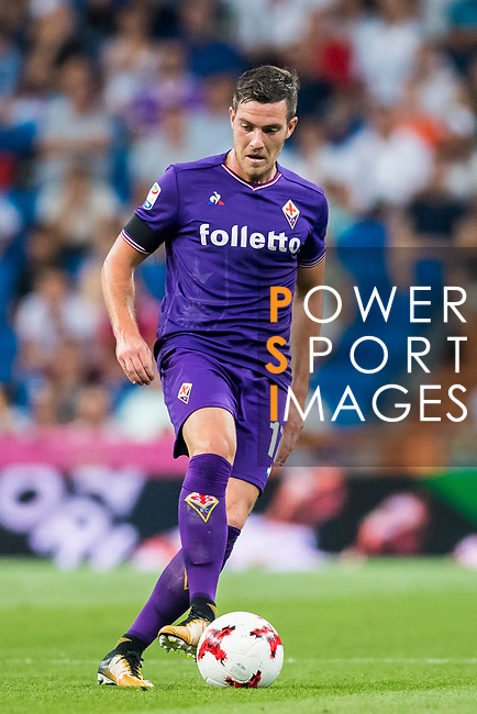 Jordan Veretout of ACF Fiorentina in action during the Santiago Bernabeu Trophy 2017 match between Real Madrid and ACF Fiorentina at the Santiago Bernabeu Stadium on 23 August 2017 in Madrid, Spain. Photo by Diego Gonzalez / Power Sport Images