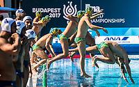Team AUS Australia  <br /> FRA (white cap) -  AUS (blue cap)<br /> Preliminary Round Water Polo Women<br /> Day06  19/07/2017 <br /> XVII FINA World Championships Aquatics<br /> Alfred Hajos Complex Margaret Island  <br /> Budapest Hungary <br /> Photo @ Deepbluemedia/Insidefoto