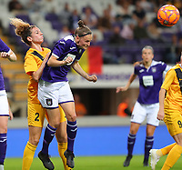 20190912 - Anderlecht , BELGIUM :  Anderlecht's Elke van Gorp is pictured heading a ball and also in the picture is  BIIK-Kazygurt's Imane Chebel (2), during the female soccer game between the Belgian Royal Sporting Club Anderlecht Dames  and BIIK Kazygurt from Shymkent in Kazachstan, this is the first leg in the round of 32 of the UEFA Women's Champions League season 2019-20120, Thursday 12 th September 2019 at the Lotto Park in Anderlecht , Belgium. PHOTO SPORTPIX.BE | SEVIL OKTEM