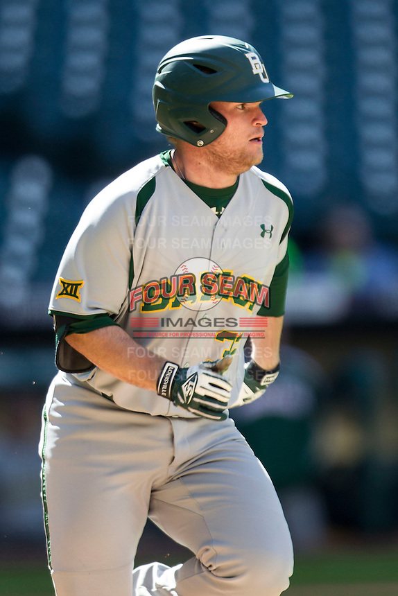 Baylor Bears pinch hitter Cameron Miller (32) runs to first base during Houston College Classic against the Hawaii Rainbow Warriors on March 6, 2015 at Minute Maid Park in Houston, Texas. Hawaii defeated Baylor 2-1. (Andrew Woolley/Four Seam Images)