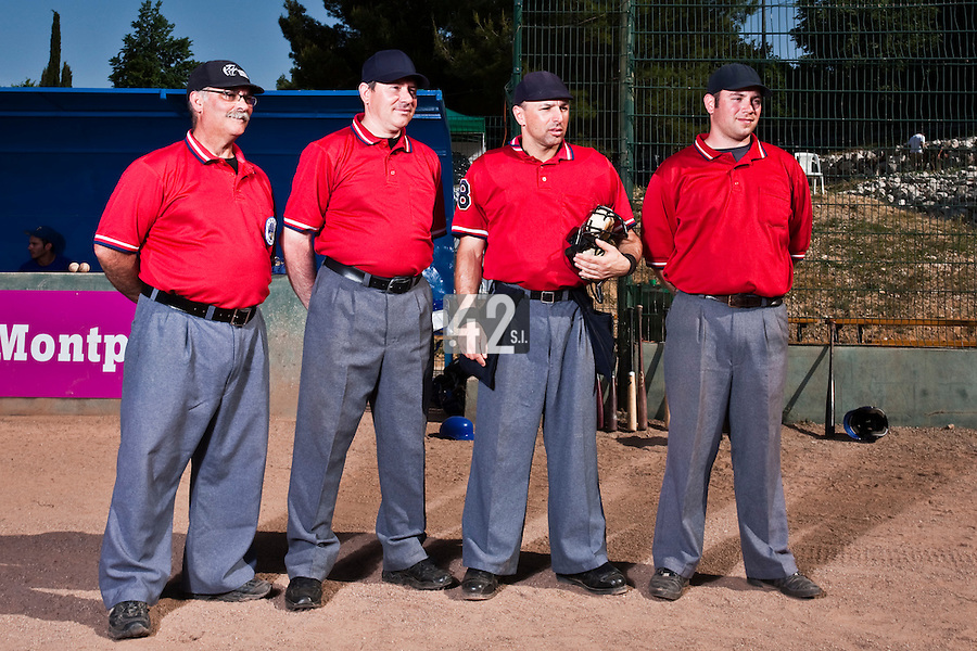24 May 2009: Umpires pose prior to a game during the 2009 challenge de France, a tournament with the best French baseball teams - all eight elite league clubs - to determine a spot in the European Cup next year, at Montpellier, France. Senart wins 8-5 over La Guerche.
