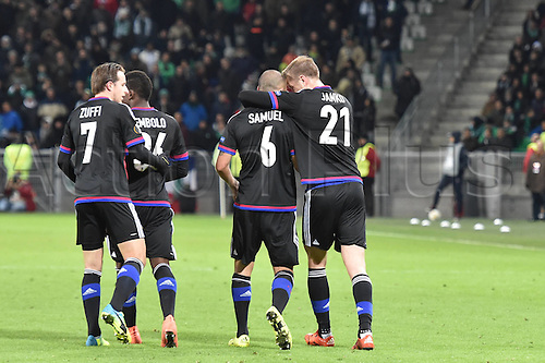 18.02.2016. Saint Etienne, France. UEFA Europa League. Saint Etienne versus FC Basel.  Walter Samuel  (FC Basel ) and team mates celebrate his first goal