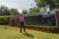 Shubhankar Sharma (IND) warms up as he watches his reflection in the Wall of Champions on the first tee before  round 4 of the Fort Worth Invitational, The Colonial, at Fort Worth, Texas, USA. 5/27/2018.<br /> Picture: Golffile | Ken Murray<br /> <br /> All photo usage must carry mandatory copyright credit (© Golffile | Ken Murray)