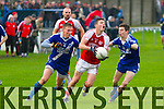 St Mary's Denis Daly and Anthony Cournane close down options for Waterville's Oran Clifford in the South Kerry Final Replay in the Con Keating Park, Cahersiveen on Saturday.  St Mary's 0-14 Waterville 07.