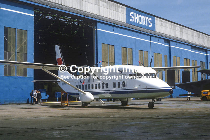 Shorts 360 aircraft, one of 8, ordered by the Civil Aviation Administration of China, parked outside one of the company's production hangars. 19850611S360a.<br />