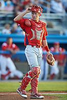 Williamsport Crosscutters catcher Logan Moore #10 during a NY-Penn League game against the Batavia Muckdogs at Dwyer Stadium on August 24, 2012 in Batavia, New York.  Williamsport defeated Batavia 7-4.  (Mike Janes/Four Seam Images)