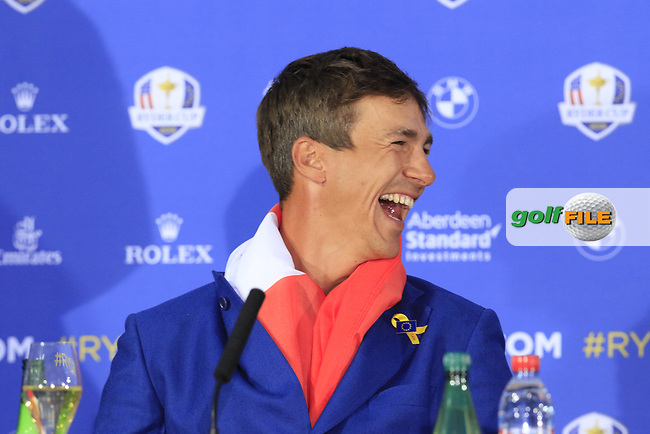 Thorbjorn Olesen (Team Europe) at the press conference after Europe win the Ryder Cup 17.5 to 10.5 at the end of Sunday's Singles Matches at the 2018 Ryder Cup 2018, Le Golf National, Ile-de-France, France. 30/09/2018.<br /> Picture Eoin Clarke / Golffile.ie<br /> <br /> All photo usage must carry mandatory copyright credit (© Golffile | Eoin Clarke)
