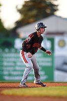 Aberdeen Ironbirds catcher Stuart Levy (40) leads off second base during a game against the Batavia Muckdogs on July 16, 2016 at Dwyer Stadium in Batavia, New York.  Aberdeen defeated Batavia 9-0. (Mike Janes/Four Seam Images)