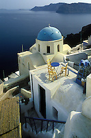 Rooftop patio near Thira and Phirostefani on the west coast of Santorini, Greece